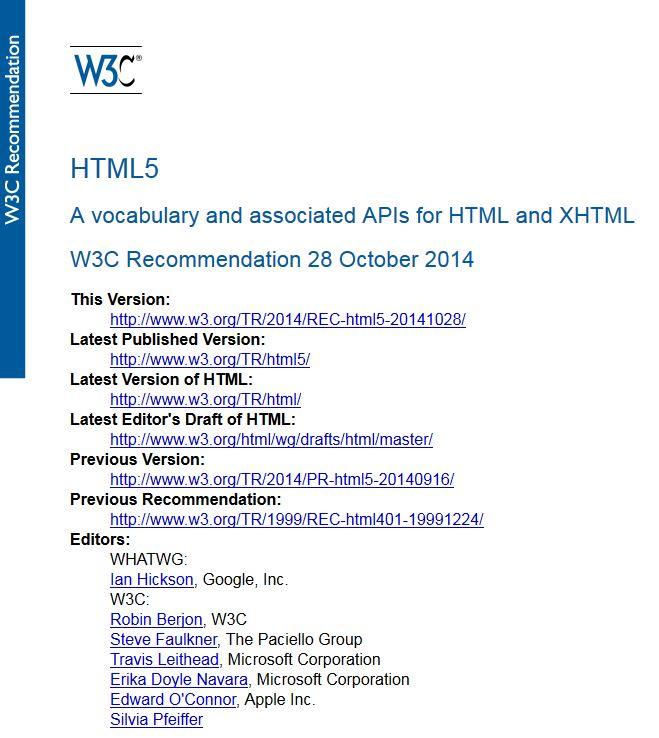 ML5 W3C Recommendation